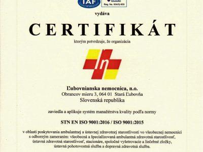 Získali sme certifikát kvality STN EN ISO 9001:2016