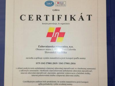 Certifikát Systému manažérstva proti korupcii